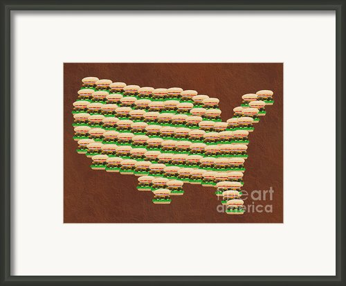 Burger Town Usa Map Brown Framed Print By Andee Photography