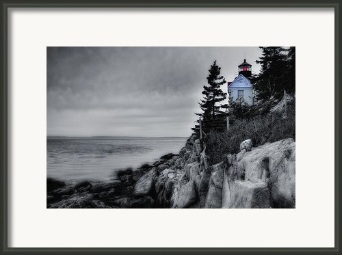 Burning The Midnight Oil - Bass Harbor Framed Print By Thomas Schoeller