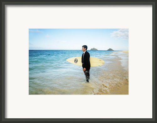 Business Man At The Beach With Surfboard Framed Print By Brandon Tabiolo - Printscapes