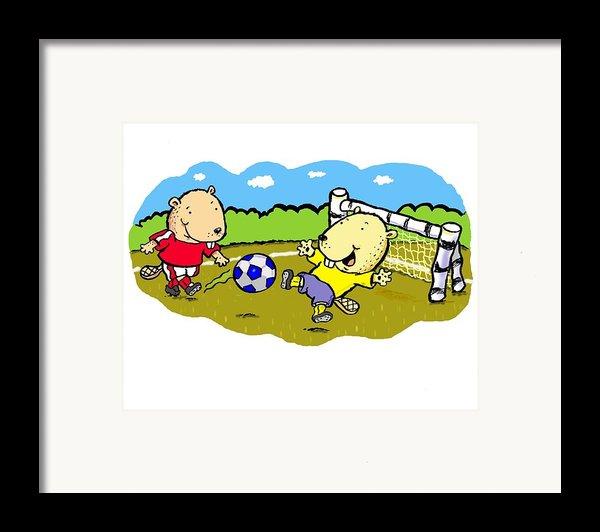 Busy Beaver Soccer Framed Print By Scott Nelson