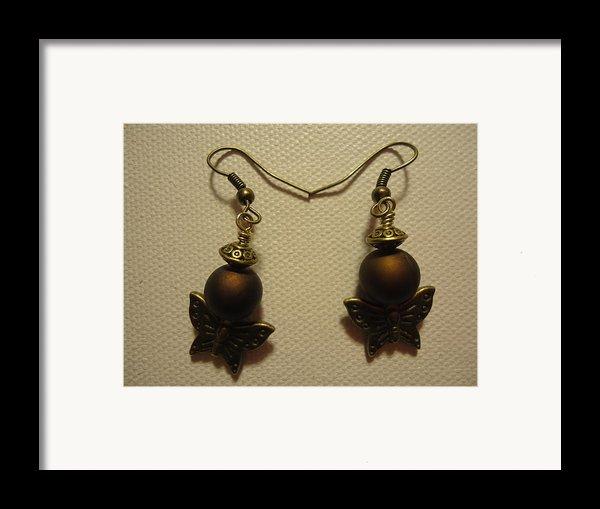 Butterfly Brown Earrings Framed Print By Jenna Green