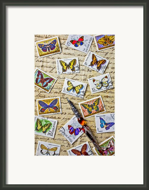 Butterfly Stamps And Old Document Framed Print By Garry Gay