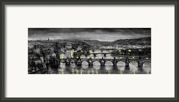 Bw Prague Bridges Framed Print By Yuriy  Shevchuk