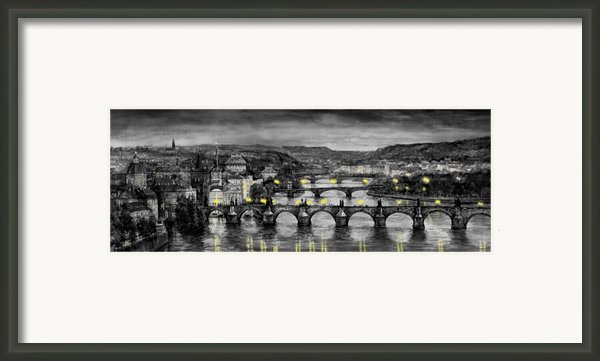 Bw Prague Bridges Framed Print By Yuriy  Shevchuk