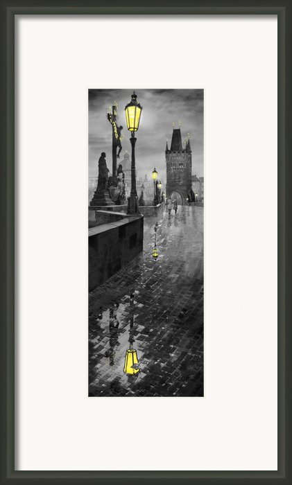 Bw Prague Charles Bridge 01 Framed Print By Yuriy  Shevchuk