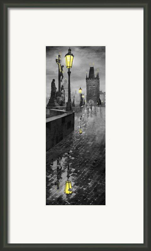 Bw Prague Charles Bridge 01 Framed Print By Yuriy  Shevchuk