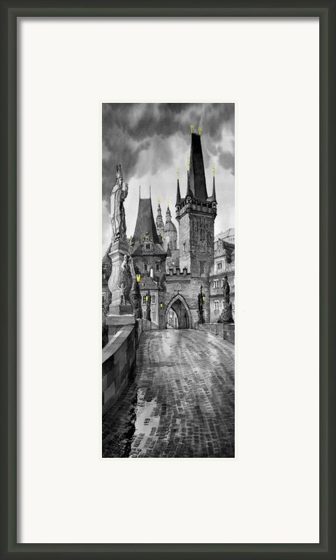 Bw Prague Charles Bridge 02 Framed Print By Yuriy  Shevchuk