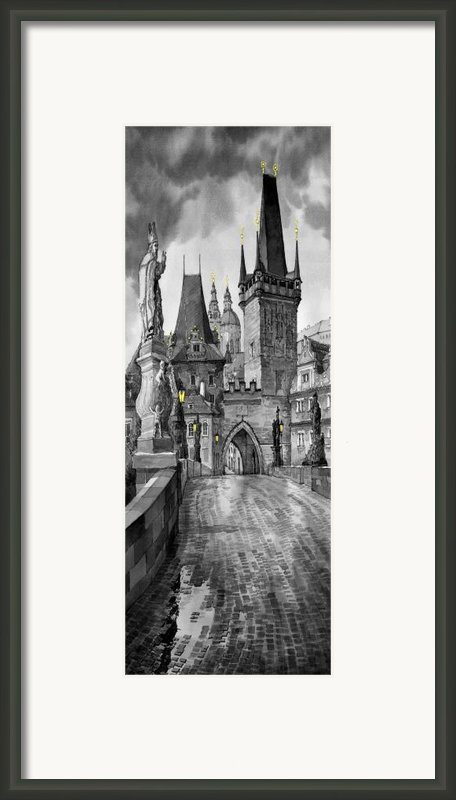 Bw Prague Charles Bridge 02 Framed Print By Yuriy  Shevchuk