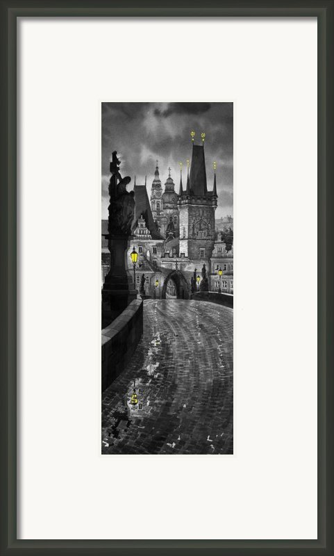 Bw Prague Charles Bridge 03 Framed Print By Yuriy  Shevchuk