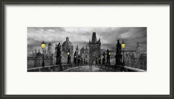 Bw Prague Charles Bridge 04 Framed Print By Yuriy  Shevchuk