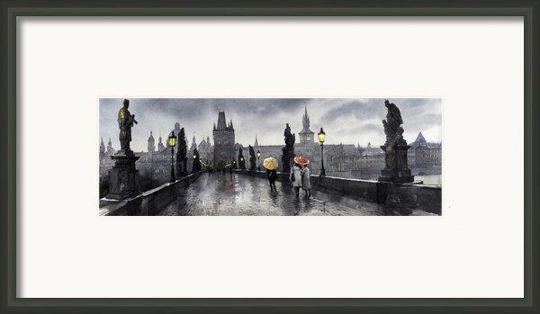 Bw Prague Charles Bridge 05 Framed Print By Yuriy  Shevchuk