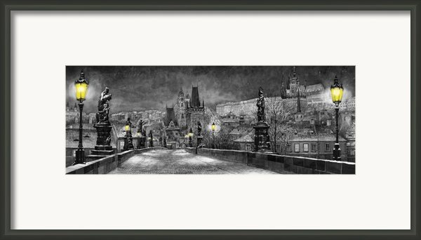 Bw Prague Charles Bridge 06 Framed Print By Yuriy  Shevchuk
