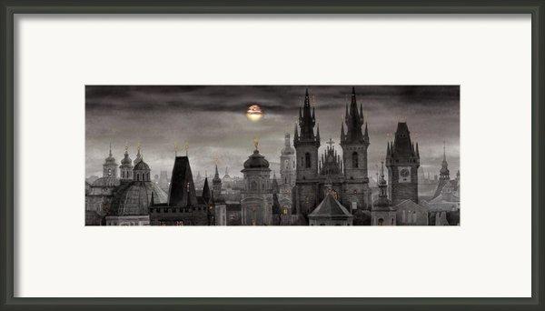 Bw Prague City Of Hundres Spiers Framed Print By Yuriy  Shevchuk