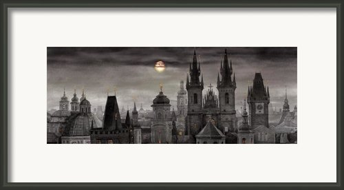 Bw Prague City Of Hundres Spiers Framed Print By Yuriy  Shevchuk