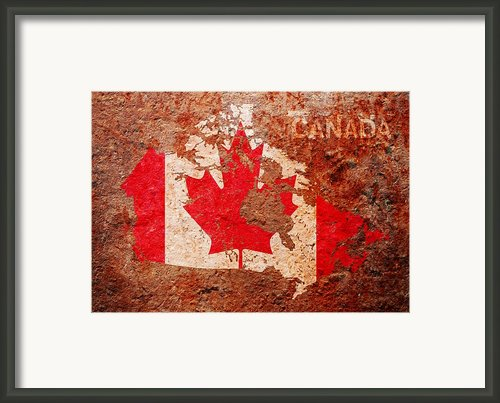 Canada Flag Map Framed Print By Michael Tompsett