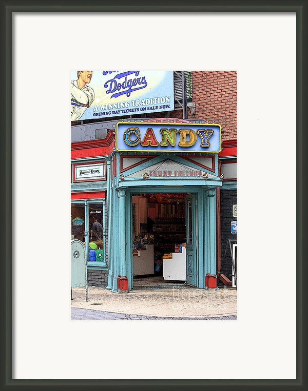 Candy Store Cartoon Framed Print By Sophie Vigneault