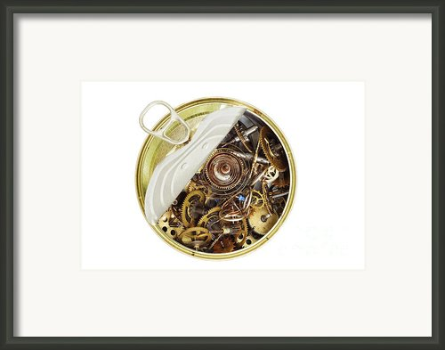Canned Time - Parts Of Clockwork Mechanism In The Can Framed Print By Michal Boubin