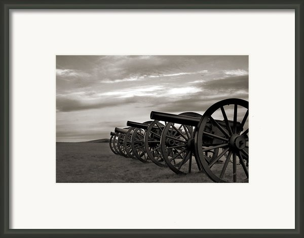 Cannon At Antietam Black And White Framed Print By Judi Quelland
