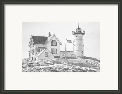 Cape Neddick Light House Drawing Framed Print By Dominic White