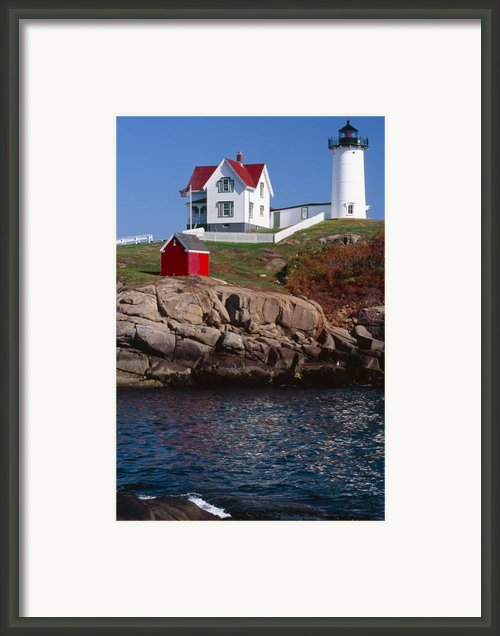 Cape Neddick Lighthouse York Maine Framed Print By George Oze