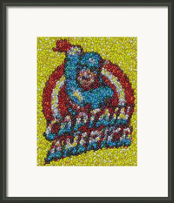Captain America Mm Mosaic Framed Print By Paul Van Scott