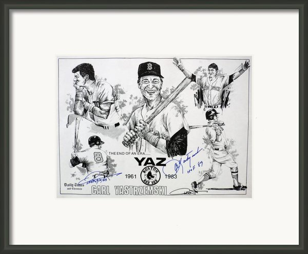 Carl Yastrzemski Retirement Tribute Newspaper Poster Framed Print By Dave Olsen