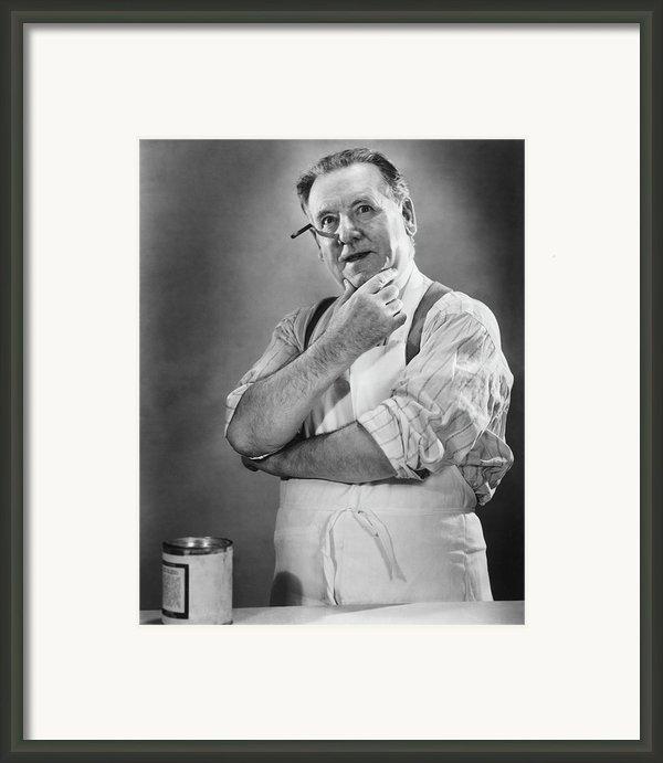 Carpenter Posing In Studio, (b&w) Framed Print By George Marks