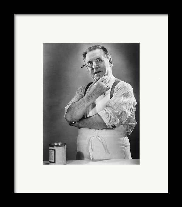 Carpenter Posing In Studio, (b&w) Framed Print By George Marks