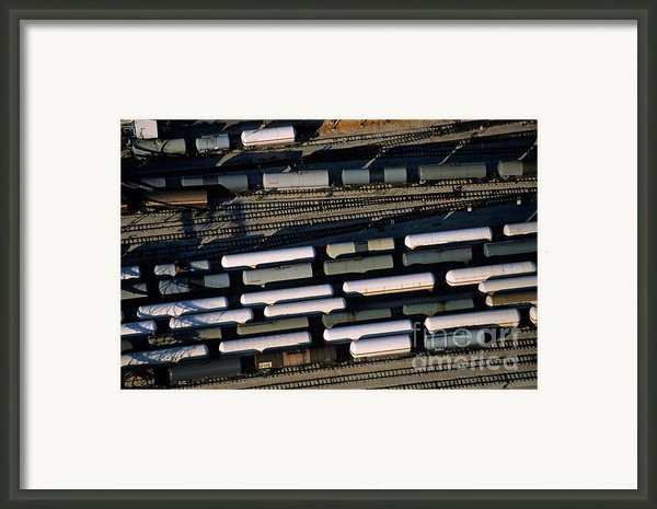 Carriages Of Freight Trains On A Commercial Railway Framed Print By Sami Sarkis