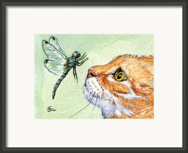 Cat And Dragonfly  Framed Print By Svetlana Ledneva-schukina