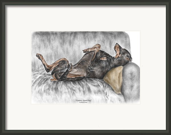 Caution Guard Dog - Doberman Pinscher Print Color Tinted Framed Print By Kelli Swan