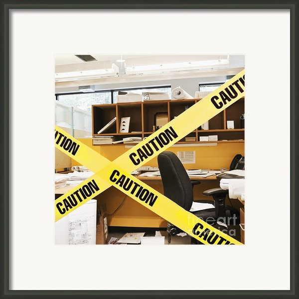 Caution Tape Blocking A Cubicle Entrance Framed Print By Jetta Productions, Inc