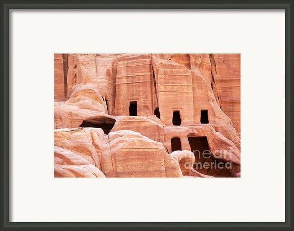Cave Dwellings Petra. Framed Print By Jane Rix