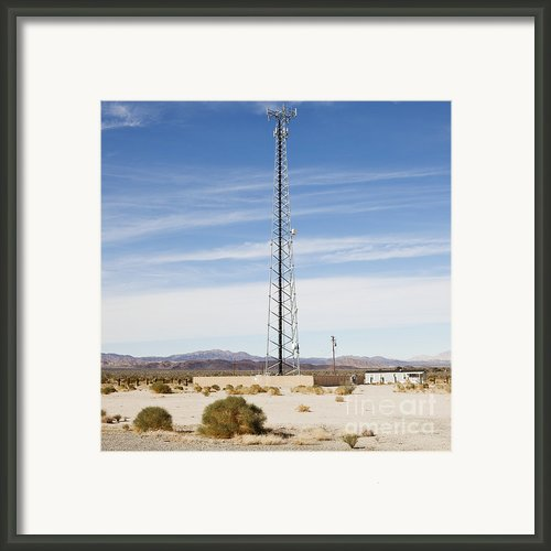 Cellular Phone Tower In Desert Framed Print By Paul Edmondson