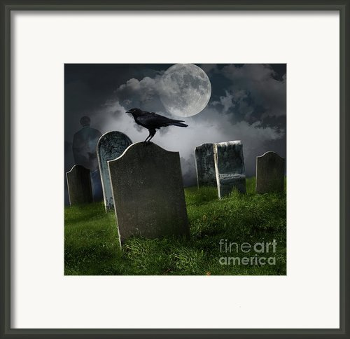 Cemetery With Old Gravestones And Moon Framed Print By Sandra Cunningham