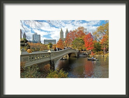 Central Park Autumn Cityscape Framed Print By Allan Einhorn