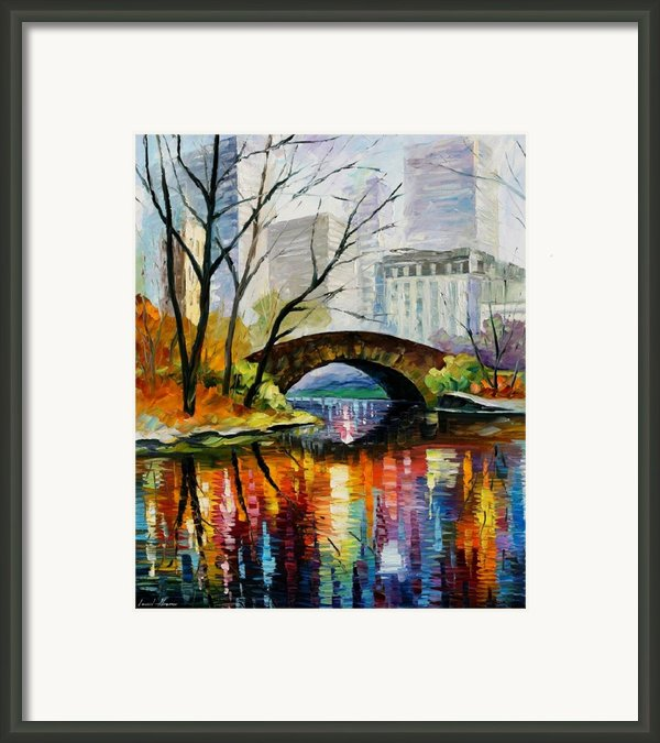 Central Park Framed Print By Leonid Afremov