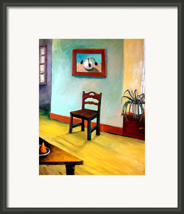 Chair And Pears Interior Framed Print By Michelle Calkins