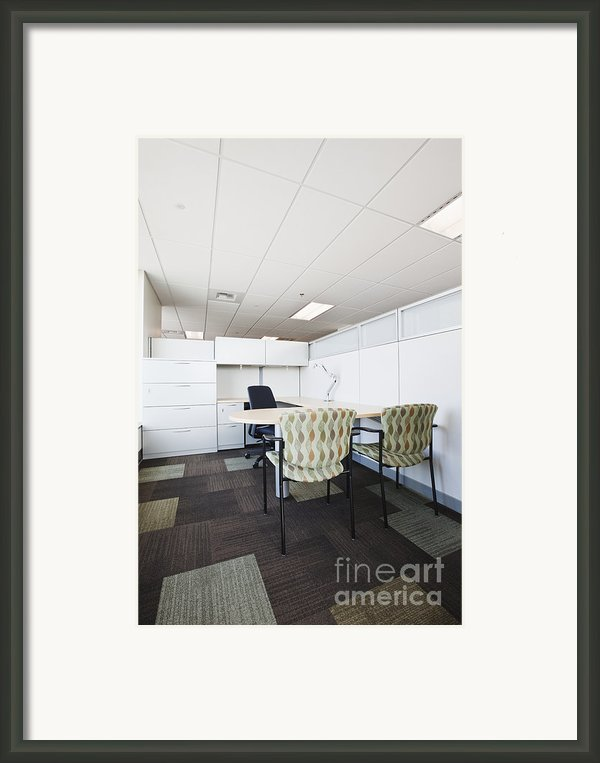 Chairs And Desk In Office Cubicle Framed Print By Jetta Productions, Inc
