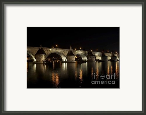 Charles Bridge At Night Framed Print By Michal Boubin