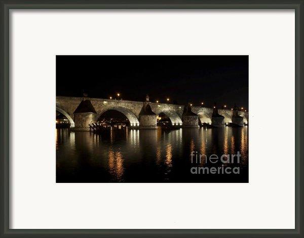 Charles Bridge At Night Framed Print By Michal Boubin
