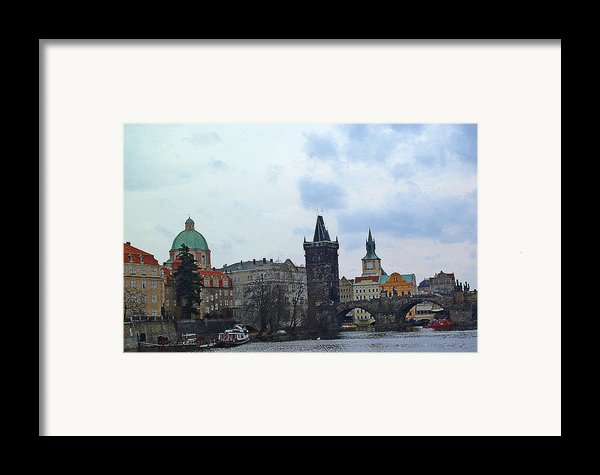 Charles Street Bridge And Old Town Prague Framed Print By Paul Pobiak