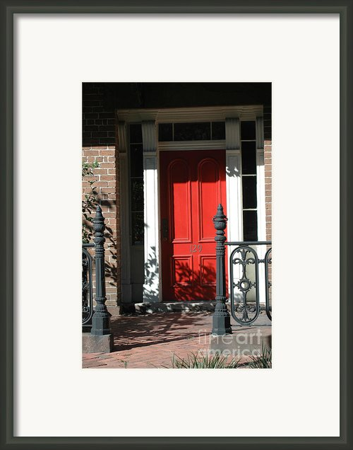Charleston Red Door And Black Iron Gate Framed Print By Kathy Fornal