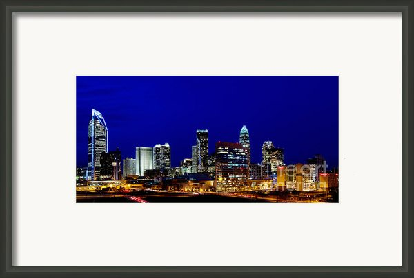 Charlotte Nc Skyline At Dusk Framed Print By Patrick Schneider