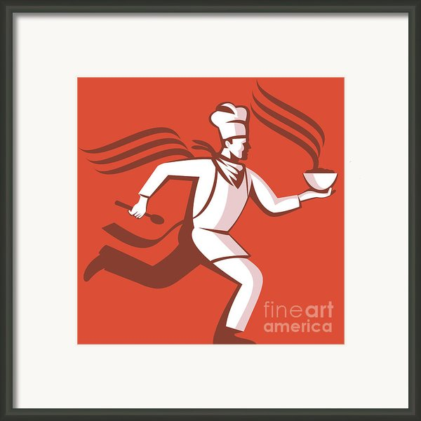 Chef Cook Baker Running With Soup Bowl Framed Print By Aloysius Patrimonio