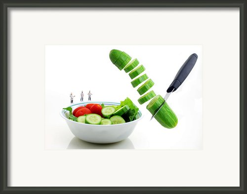 Chefs Making Salad Framed Print By Paul Ge