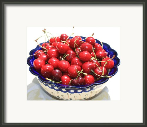 Cherries In Blue Bowl Framed Print By Carol Groenen