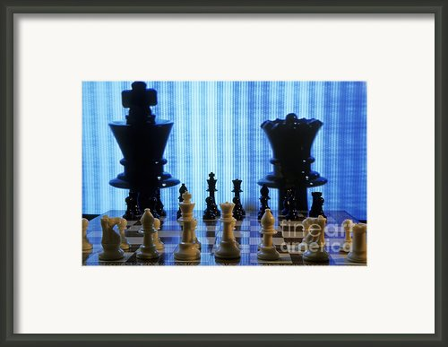 Chess Board With King And Queen Chess Pieces In Front Of Tv Scre Framed Print By Sami Sarkis
