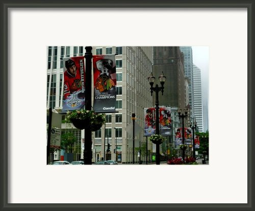 Chicago Blackhawk Flags Framed Print By Ely Arsha