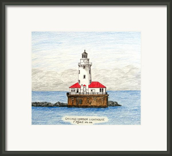 Chicago Harbor Lighthouse Framed Print By Frederic Kohli